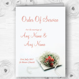 Peach Coral Rose Personalised Wedding Double Sided Cover Order Of Service