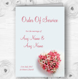 Pink Heart Roses Personalised Wedding Double Sided Cover Order Of Service