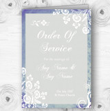 Rustic Blue Lace Personalised Wedding Double Sided Cover Order Of Service