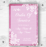 Rustic Pink Lace Personalised Wedding Double Sided Cover Order Of Service
