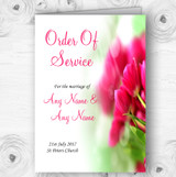 Hot Pink Tulips Personalised Wedding Double Sided Cover Order Of Service