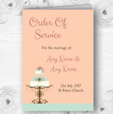 Classical Cake Personalised Wedding Double Sided Cover Order Of Service