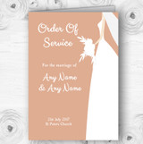Peach Bride Personalised Wedding Double Sided Cover Order Of Service