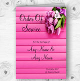 Pink Tulips Personalised Wedding Double Sided Cover Order Of Service