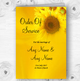 Sunflowers Personalised Wedding Double Sided Cover Order Of Service