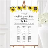 Stunning Watercolour Sunflower Personalised Wedding Seating Table Plan