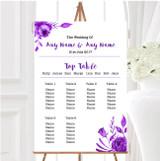 Cadbury Purple & White Watercolour Floral Wedding Seating Table Plan