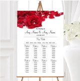 White Pearl Red Rose Petals Personalised Wedding Seating Table Plan