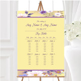Yellow Lilac Floral Vintage Personalised Wedding Seating Table Plan