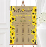 Rustic Sunflowers Vintage Personalised Wedding Seating Table Plan