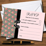Coral Pink Rose Shabby Chic Black Stripes RSVP Cards