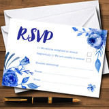Blue & White Watercolour Floral RSVP Cards