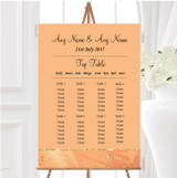 Peach Gold Pretty Personalised Wedding Seating Table Plan