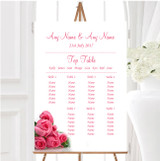 Pink Pretty Roses Personalised Wedding Seating Table Plan