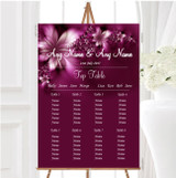 Beautiful Purple Personalised Wedding Seating Table Plan