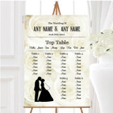 Cream Roses Chic Personalised Wedding Seating Table Plan