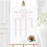 Peach Coral Rose Personalised Wedding Seating Table Plan