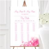 Pink Rose Petals Personalised Wedding Seating Table Plan