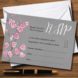 Rustic Vintage Dark Grey & Pink Blossom RSVP Cards