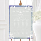 Rustic Blue Lace Personalised Wedding Seating Table Plan