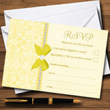 Pretty Floral Vintage Bow & Diamante Yellow RSVP Cards