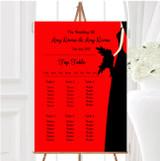 Red Black Bride Personalised Wedding Seating Table Plan