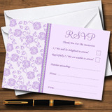 Pretty Lilac Purple Floral Diamante RSVP Cards