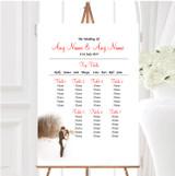 White Winter Personalised Wedding Seating Table Plan