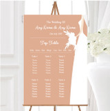 Peach Bride Personalised Wedding Seating Table Plan