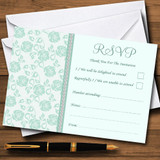 Pretty Mint Green & Sage Floral Diamante RSVP Cards