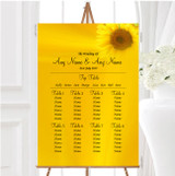 Sunflowers Personalised Wedding Seating Table Plan