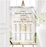 White Rose Personalised Wedding Seating Table Plan