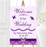 Cadbury Purple Vintage Floral Damask Butterfly Personalised Welcome Wedding Sign