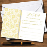 Pretty Pale Yellow Floral Diamante RSVP Cards