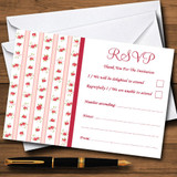 Pink Red Roses Shabby Chic Stripes RSVP Cards