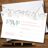 Coral & Blue Autumn Watercolour RSVP Cards