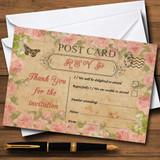 Pink Rose Vintage Shabby Chic Postcard RSVP Cards