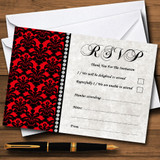 Deep Red Black Damask & Diamond RSVP Cards