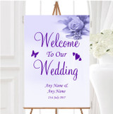 Lilac And Purple Rose Ring Personalised Any Wording Welcome To Our Wedding Sign