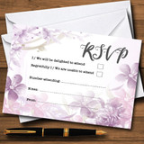 Pale Purple Watercolour Floral RSVP Cards
