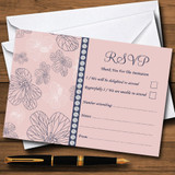 Dusty Coral Pink And Blue Floral RSVP Cards