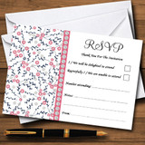 Dusty Coral Pink And Navy Blue Floral RSVP Cards