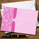 Dusty Pale Baby Rose Pink Vintage Floral Damask Diamante RSVP Cards