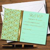 Mint Green & Gold Vintage Damask RSVP Cards