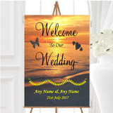 Beach At Sunset Romantic Abroad Personalised Any Wording Welcome Wedding Sign