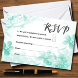 Green Watercolour Floral RSVP Cards