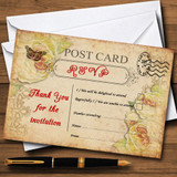 Old Vintage Shabby Chic Postcard RSVP Cards