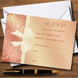 Cream Pale Coral Peach Pink Bow Wedding RSVP Cards