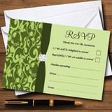 Olive Green Vintage Floral Damask Diamante RSVP Cards