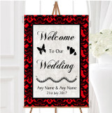 Deep Red Black Damask Diamond Personalised Any Wording Welcome Wedding Sign